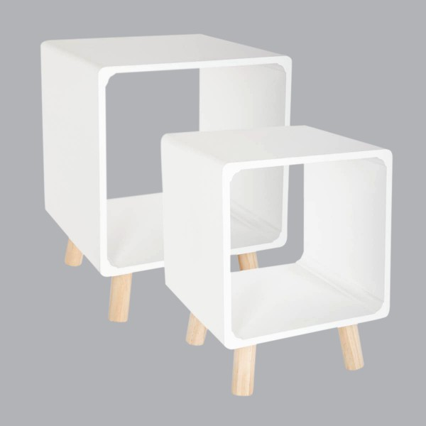 Lot de 2 tables de chevet Break Blanches