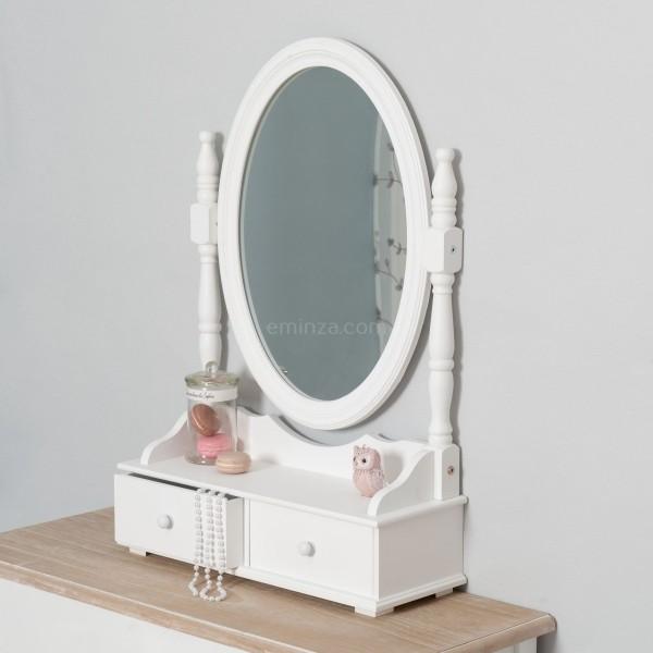 Miroir Range Bijoux Eva Blanc