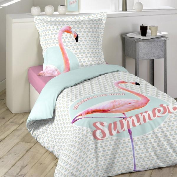 Bettwäsche aus Baumwolle (140 cm) Sommer Rosa - Bettwaren