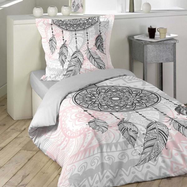 Housse de couette et une taie coton 140 cm namaste rose - Housse de couette lit une place ...