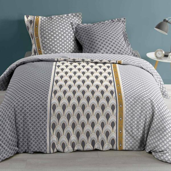 housse de couette et deux taies coton sup rieur 260 cm madone jaune linge de lit eminza