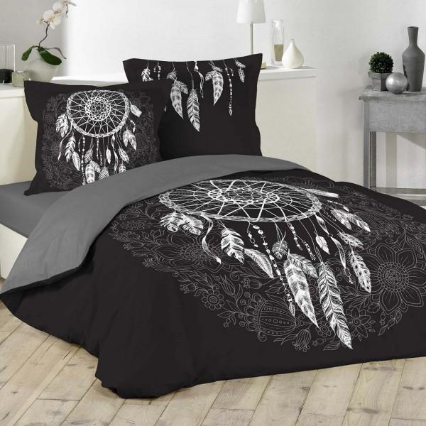 Housse de couette et deux taies coton (260 cm) Ista Noir