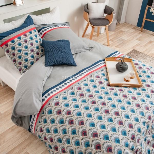 housse de coussin 40 cm hexochic bleu d co textile. Black Bedroom Furniture Sets. Home Design Ideas