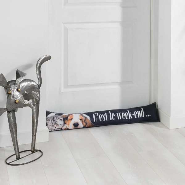 coussin bas de porte week end dog gris d co textile eminza. Black Bedroom Furniture Sets. Home Design Ideas