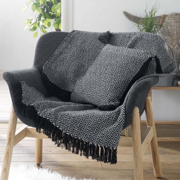 jet de canap 150 cm delios noir d co textile eminza. Black Bedroom Furniture Sets. Home Design Ideas