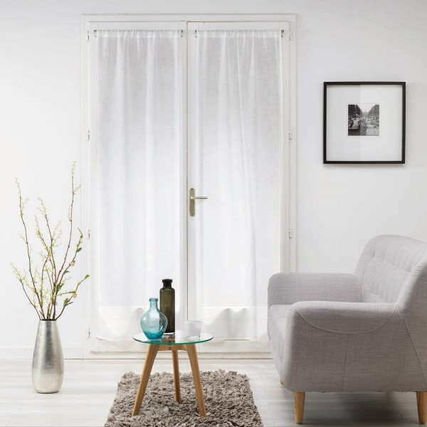 Paire de voilages 70 x 240 cm milza blanc rideau Voilage vitrage porte fenetre