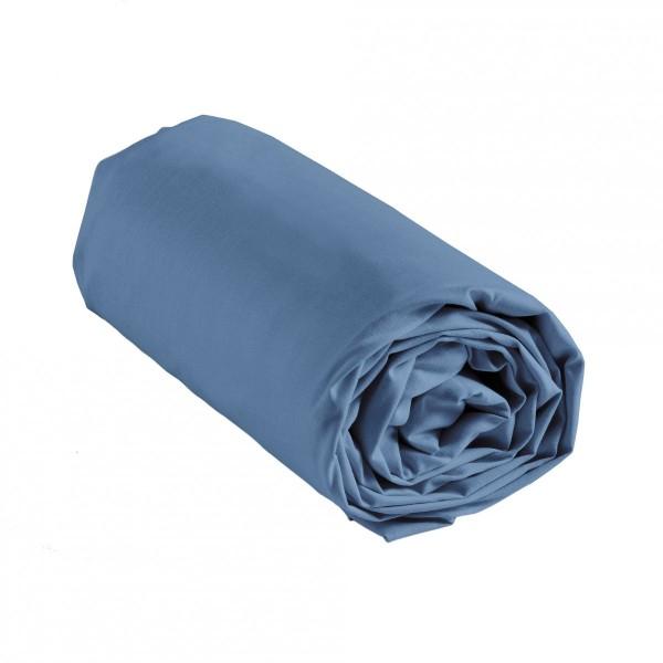 drap housse coton 180 cm lina bleu azur linge de lit eminza. Black Bedroom Furniture Sets. Home Design Ideas