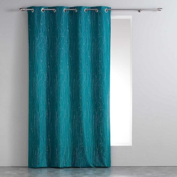 Rideau tamisant 140 x 260 cm filiane bleu p trole - Rideau bleu petrole ...