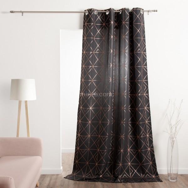 rideau tamisant 140 x 260 cm quadris gris anthracite. Black Bedroom Furniture Sets. Home Design Ideas