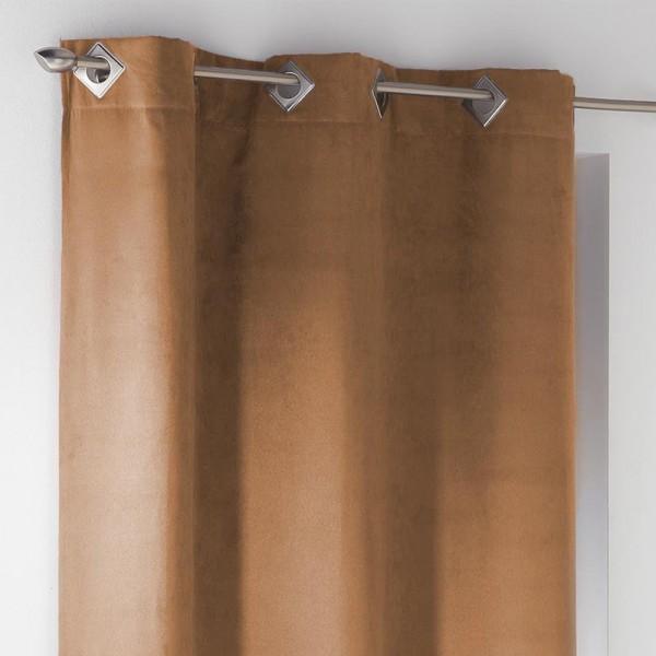 Rideau tamisant (140 X 240 cm) Suède Marron fauve - Rideau / Voilage ...