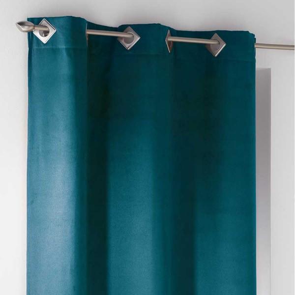 Rideau tamisant 140 x 240 cm su de bleu p trole rideau - Rideau bleu petrole ...