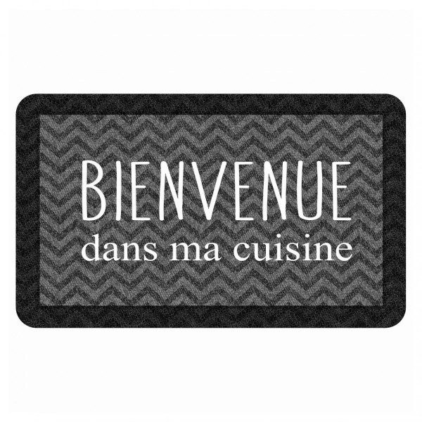Tapis de cuisine (75 cm) Kitchen Black Gris
