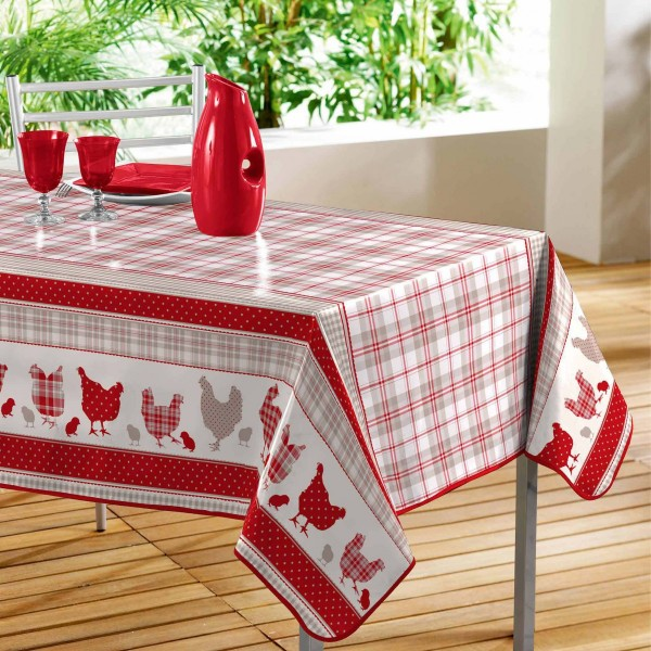 Nappe rectangulaire PVC (L240 cm) Poussins Rouge