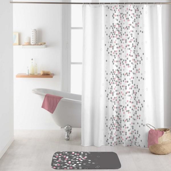 rideau de douche 200 cm effervescence blanc accessoire. Black Bedroom Furniture Sets. Home Design Ideas