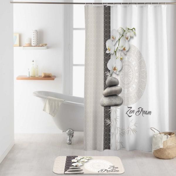 Rideau de douche (200 cm) Orchizen Blanc