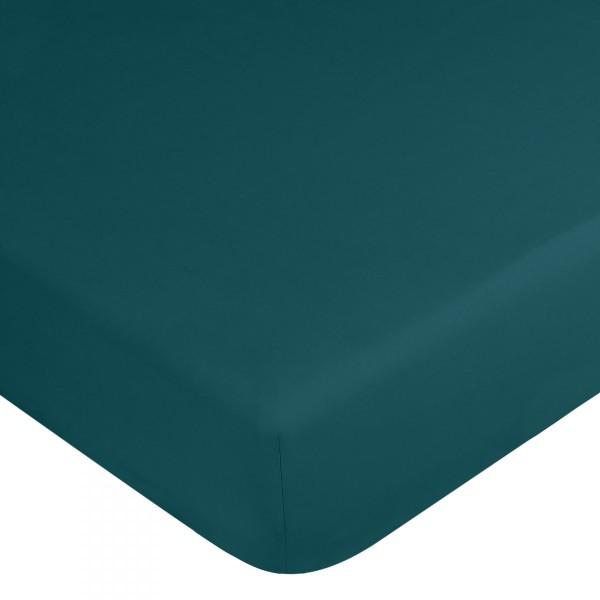 drap housse coton teint lav 180 x h35 cm palace vert geai linge de lit eminza