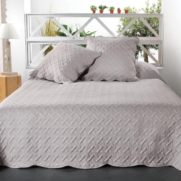 couvre lit et taies d 39 oreiller 250 x 260 cm californie gris clair linge de lit eminza. Black Bedroom Furniture Sets. Home Design Ideas