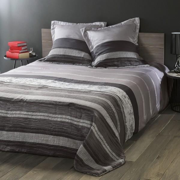couvre lit et taie d 39 oreiller 180 x 240 cm inuit gris clair linge de lit eminza. Black Bedroom Furniture Sets. Home Design Ideas