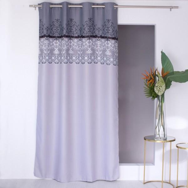 Rideau occultant 140 x 240 cm arabesque gris rideau voilage store eminza for Rideau occultant et voilage