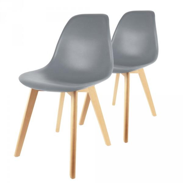 lot de 2 chaises coque gris - Chaise Coque
