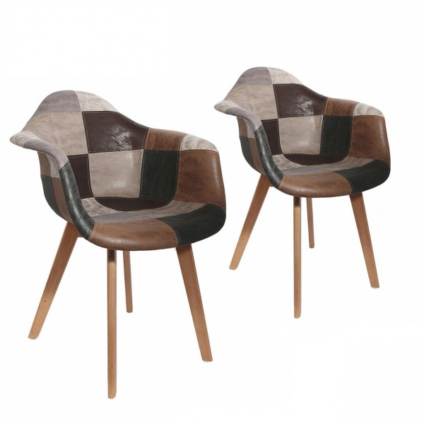 Lot de 2 fauteuils Patchy Marron