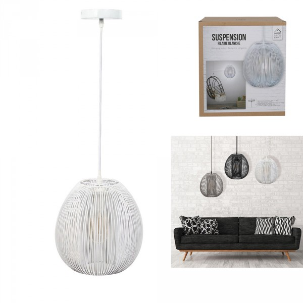 suspension boule blanc luminaire eminza. Black Bedroom Furniture Sets. Home Design Ideas