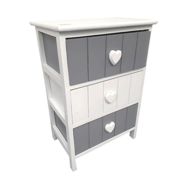 chevet vania gris 3 tiroirs table eminza. Black Bedroom Furniture Sets. Home Design Ideas