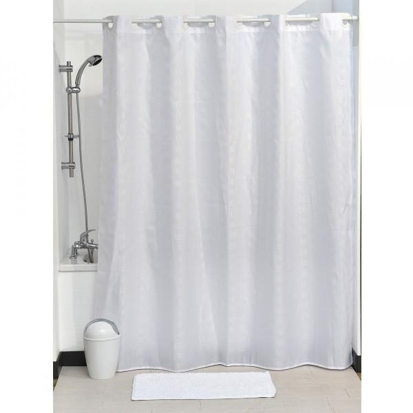 rideau de douche 200 cm carr blanc accessoire douche baignoire eminza. Black Bedroom Furniture Sets. Home Design Ideas