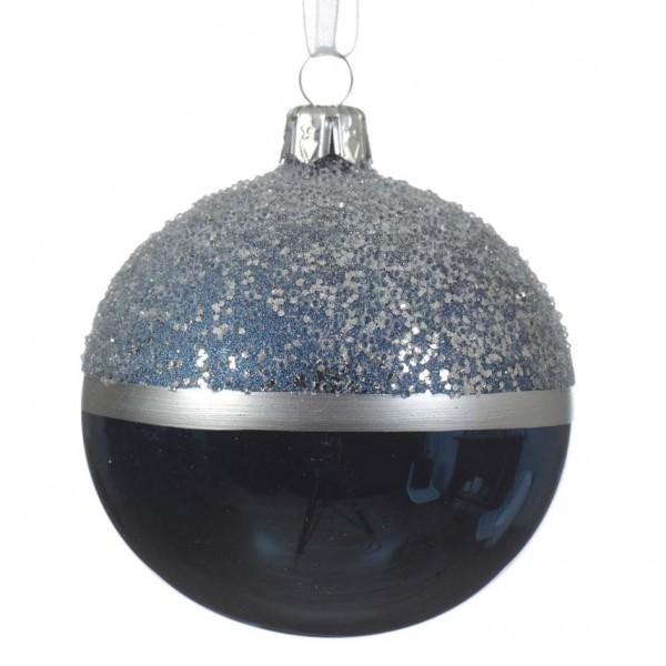 Set Van 6 Kerstballen D80 Mm Schemering Donkerblauw Kerstballen
