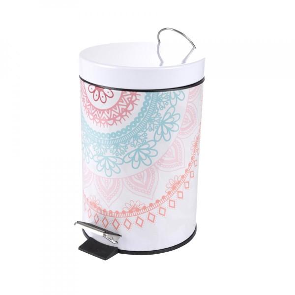 Poubelle mandala rose accessoire salle de bain eminza - Poubelle salle de bain rose ...