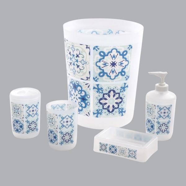 Kit d\'accessoires de salle de bain Tilès Bleu - Accessoire Salle de ...