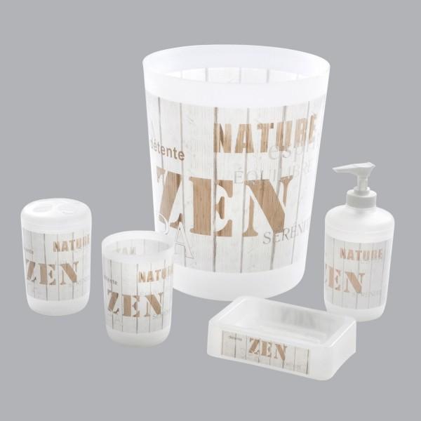 Kit d\'accessoires de salle de bain Zen Wood Blanc - Accessoire Salle ...