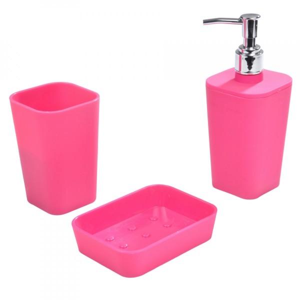 Kit d\'accessoires de salle de bain Soft touch Rose fuschia ...