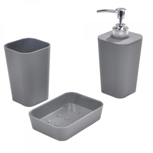 Kit d 39 accessoires de salle de bain soft touch gris anthracite accessoire salle de bain eminza - Accessoire salle de bain gris ...