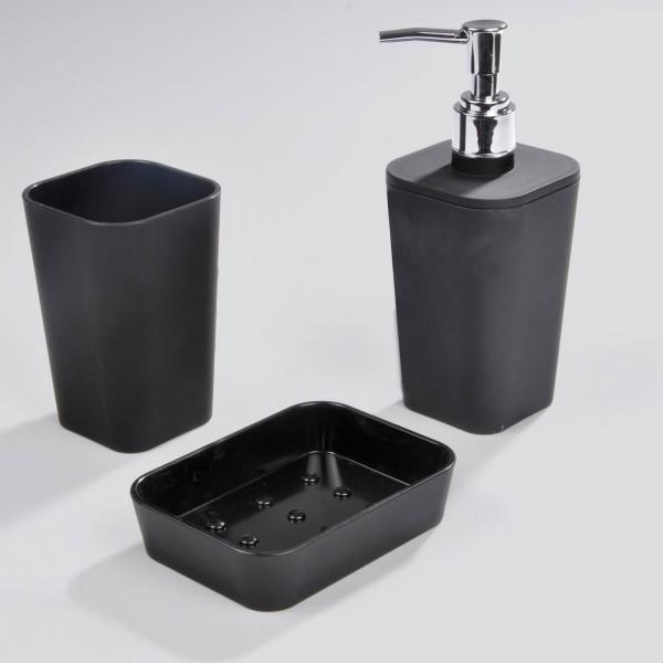 Kit d 39 accessoires de salle de bain soft touch noir accessoire salle de bain eminza - Accessoire salle de bain noir ...
