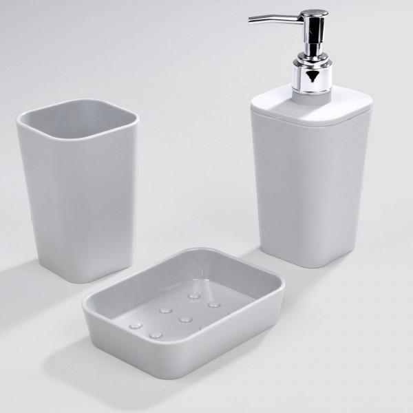 Kit d 39 accessoires de salle de bain soft touch gris clair accessoire salle de bain eminza - Accessoire salle de bain gris ...