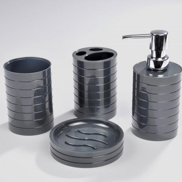 Kit d 39 accessoires de salle de bain strie gris anthracite accessoire salle de bain eminza - Accessoire salle de bain gris ...