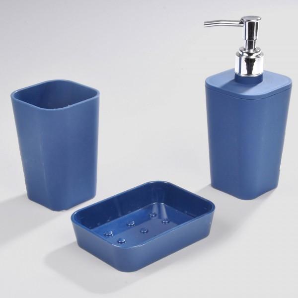 kit d 39 accessoires de salle de bain soft touch bleu indigo. Black Bedroom Furniture Sets. Home Design Ideas