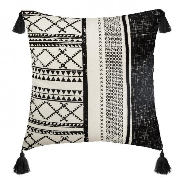 coussin 40 cm corde delhi noir et blanc d co textile. Black Bedroom Furniture Sets. Home Design Ideas