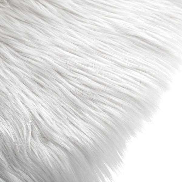 tapis fausse fourrure 90 cm rond blanc