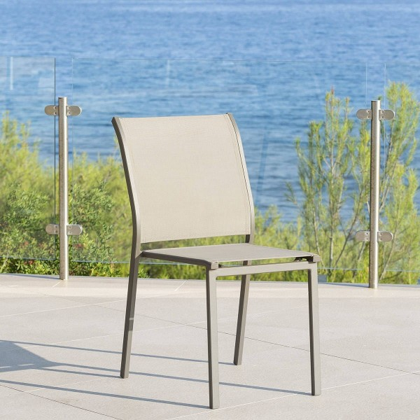 Chaise de jardin alu empilable essentia marron noisette marron tonka salon de jardin table - Chaise de jardin empilable ...