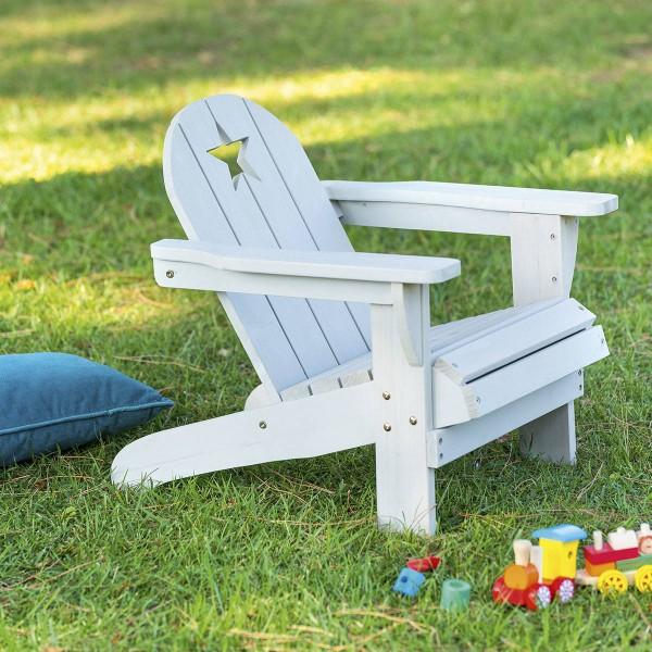 Kinder Relax Fauteuil.Strandstuhl Aus Holz Fur Kinder Grau