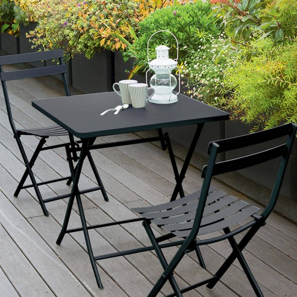 Table de jardin pliante carrée Métal Greensboro (70 x 70 cm) - Gris graphite