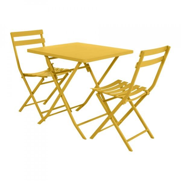 Table de jardin pliante carrée Métal Greensboro (70 x 70 cm) - Jaune  moutarde