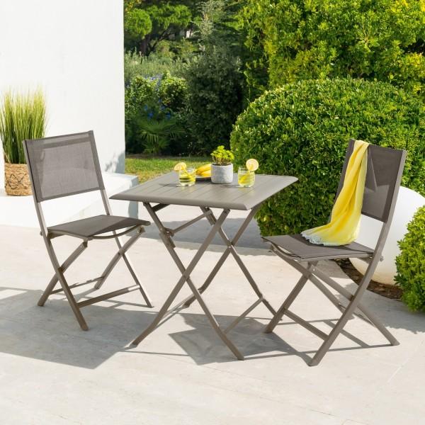 Table de jardin pliante Aluminium Azua (71 x 71 cm) - Marron tonka ...