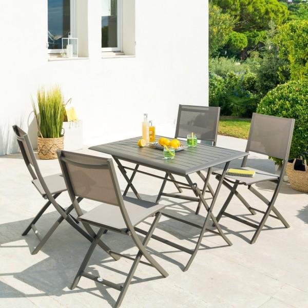 Table de jardin pliante Aluminium Azua (110 x 71 cm) - Marron tonka