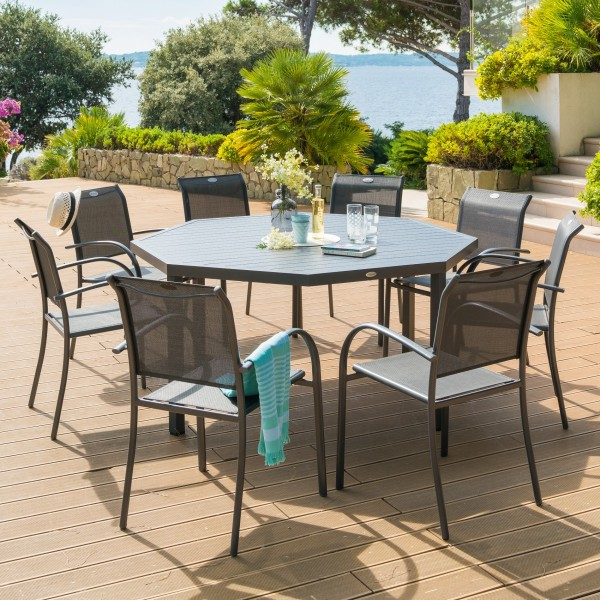 Table de jardin Aluminium Piazza octogonale - Gris graphite - Salon ...