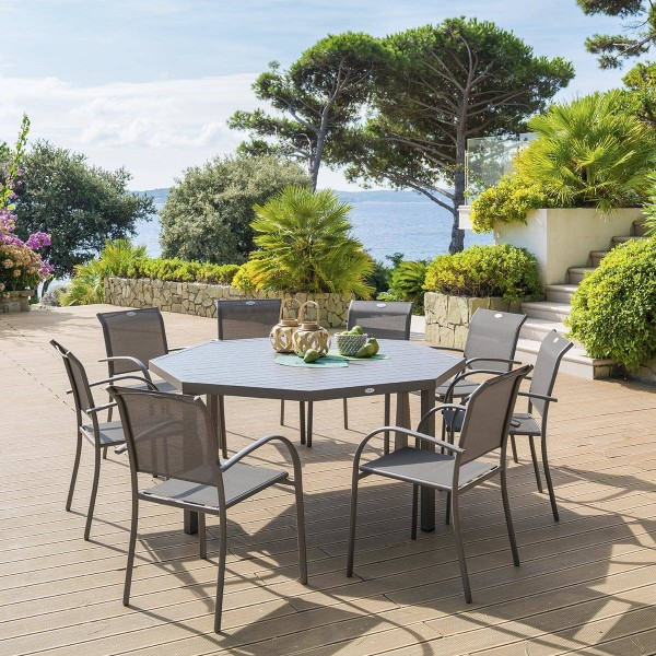 Table de jardin aluminium piazza octogonale marron tonka salon de jardin table et chaise - Table de jardin aluminium ...