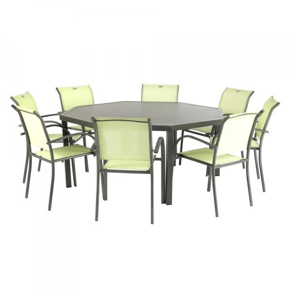 Table de jardin Aluminium Piazza octogonale - Marron tonka