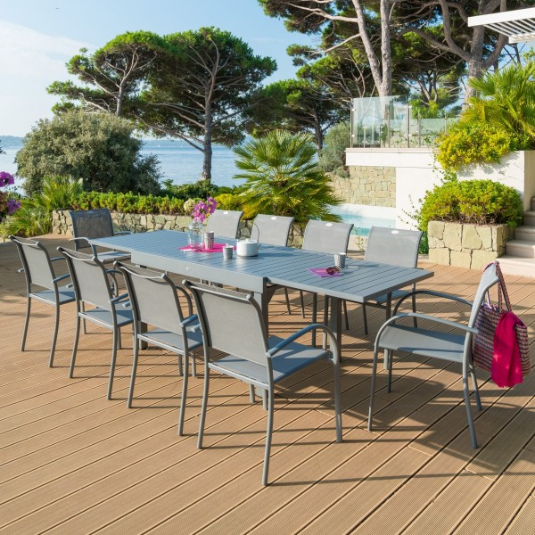Table de jardin extensible Piazza Aluminium (270 x 90 cm) - Gris ...